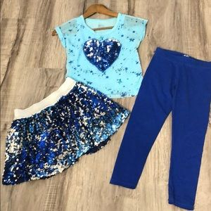 3pc matching skort, top and leggings